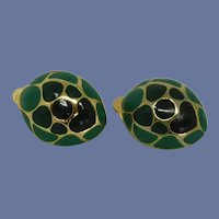 Kelly Green and Navy Blue Gold Tone Clip On Earrings