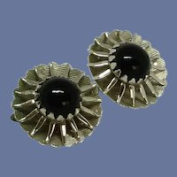 Sarah Coventry Silver Tone with Black Clip On Earrings