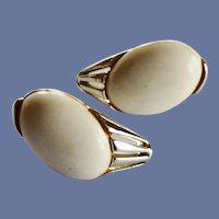 Silver Tone White Clip On Earrings