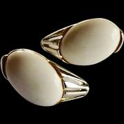 Silver Tone White Clip On Earrings