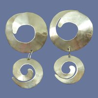 Silver Toned Dangle Abstract Round Pierced Earrings