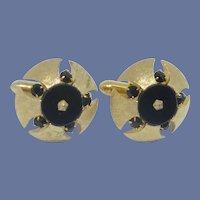 Swank Gold Tone Dome Black Rhinestone Cufflinks Cuff Link