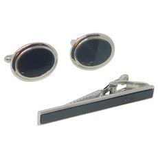 Basic Black Silver Tone Cufflinks Cuff Links and Tie Clip