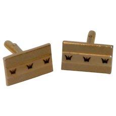 Swank Gold Tone With Black Crown Design Cufflinks Cuff Links