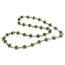 Green Stone Beads in Gold Tone Necklace