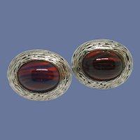 Red Blood Stone Cabochon Silver Tone Cufflink Cuff Links