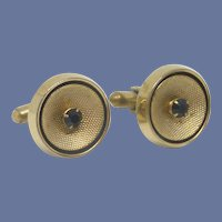 Gold Tone Round Cufflinks Cuff Links Black Rhinestone