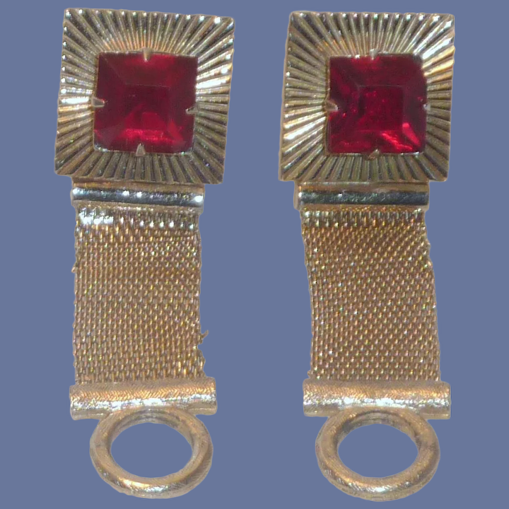 Huge Red Blingy Wrap Style Cufflinks
