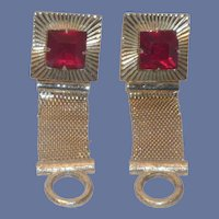 Swank Wrap Around Gold Tone Red Rhinestone Cuff Links Cufflinks