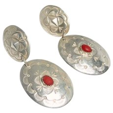Signed Sterling Silver Southwestern Pierced Earrings