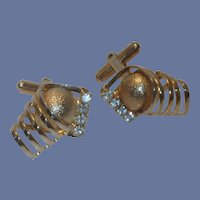 Unique Gold Tone Diamond Rhinestone Cufflinks Cuff Links