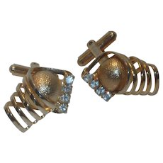 Unique Gold Tone Diamond Rhinestone Cufflinks Cuff Links
