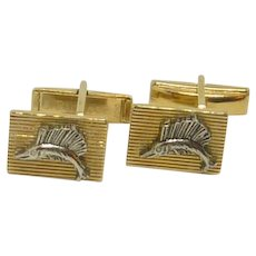 Pioneer Swordfish Gold and Silver Toned Cufflinks Cuff Links