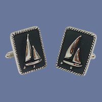Nautical Silver Tone Black Sailboat Cufflinks Cuff Links