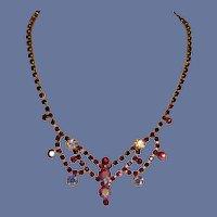 Red White Rhinestone Choker Necklace