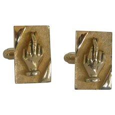 Fingers Crossed Gold Tone Cuff Links Cufflinks