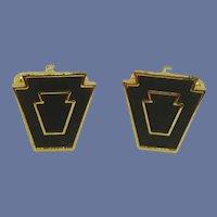 Harvale Black and Gold Tone Cuff Links Cufflinks