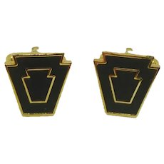 Harvale Black and Gold Tone Cuff Links Cufflinks