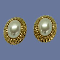 Faux Pearl Cabochon Clip on Earrings