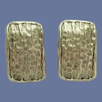 Silver Tone Hammered Look Clip On Earrings