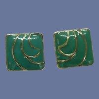 Aqua Green Enameled Square Clip On Earrings
