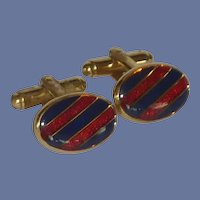 Blue and Red Striped Gold Tone Cufflinks Cuff Links