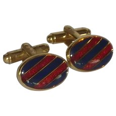 Blue and Red Striped Gold Tone Cufflinks Cuff Links