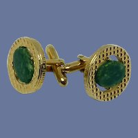 Gold Tone Jade Stone Cuff Links Cufflinks