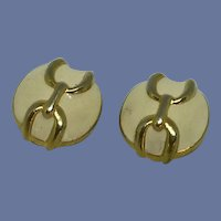 Round White Enameled with Gold Tone Clip On Earrings