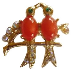 Love Birds Jelly Belly Rhinestone Pin
