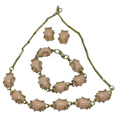 Pink Gold Tone Necklace Earrings and Bracelet 1960's