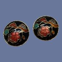 Round Black Cloisonné Clip On Earrings