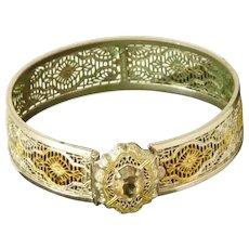 Lovely Gold / Silver Plate Filigree Hinged Bracelet