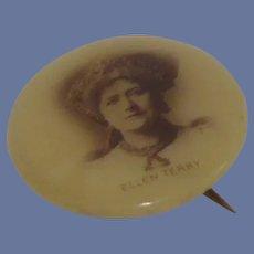 Ellen Terry Push Back Button Pin