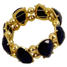 Light Weight Navy Blue Gold Tone Stretch Bracelet