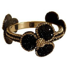 Diamond Rhinestone and Black Bangle Bracelet
