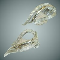 Sarah Coventry Swirl Silver Toned Clip On Earrings
