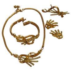 1960's Beautiful Trifari Set Necklace Bracelet Earrings and Pin Pendant
