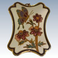 Cloisonne Pendant Necklace with Flowers and Butterfly Design