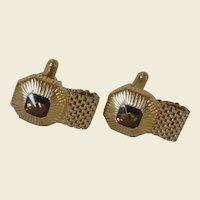 Swank Gold Tone Faux Citrine Glass Cufflinks Cuff Links Wraparounds