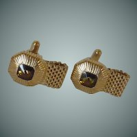 Swank Gold Tone Faux Citrine Glass Cufflinks Cuff Links Wraparounds