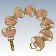 Coro Peach Pink Thermo -Plastic Pearlite Gold Tone Bracelet