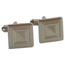 Small Square Silver Tone Cuff Links Cufflinks