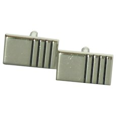 Hickok Silver Tone Rectangular Cuff Links Cufflinks