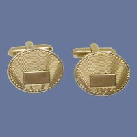 Oval Gold Tone Initial Cuff Links Cufflinks