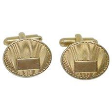Oval Gold Tone Initial Cuff Links Cufflinks