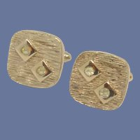 Square Gold Tone with Diamond Rhinestone Cufflinks Cuff Links