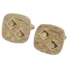 Square Gold Tone with Diamond Rhinestone Cufflinks Cuff Links