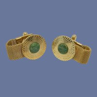 Mesh Wrap Around Green Stone Gold Tone Cuff Links Cufflinks