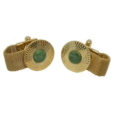 Mesh Wrap Around Green Stone Gold Tone Cuff Links Cufflinks